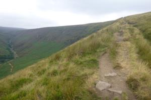 The Pennine Way along the edge of Torside Clough.